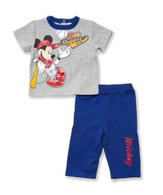 Another great find on #zulily! Gray Mickey Tee & Mazarine Blue Sweatpants - Infant #zulilyfinds