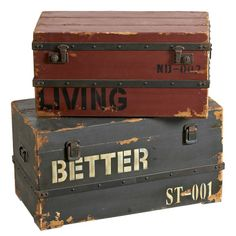 Baule set 2 pezzi in legno FeelD Bauli 003094 | Soggiorno e studio | Arredamento | FeelDesign