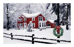 Beautiful! - Christmas Red Farm House verse and card - greeting card pattern BR-018