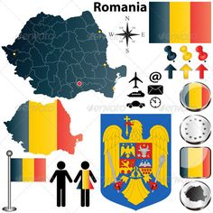 Illustration about Vector set of Romania country shape with flags, buttons and icons isolated on white background. Illustration of cartography, earth, romania - 28811291 Romania Map, Bucharest Romania, Different Country Flags, Symbol Design, Cartography, Vector Free, Map Vector, Geography, Symbols