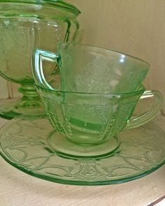 Green Depression glass teacups | Flickr - Photo Sharing!
