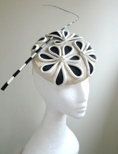 French Inspired Black & Cream Daisy Beret, Handmade by Natalilouise Millinery hat