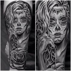 Sugar skull tattoo #blackandwhitetattoo #sleevetattoo