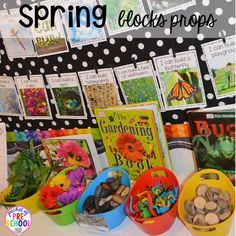 STEM block prop for a spring theme plus Plant Needs and Life Cycle Posters FREEBIE. Prefect for preschool, pre-k, and kindergarten.