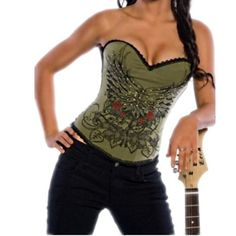 Rock N Roll Chain Printed Boned Corset, 4 Color Choices listed under 20. Def Planet