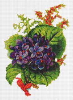 Vintage, Victorian Art, Violets, Purple Flowers, Floral, Counted Cross Stitch Pattern, Xstitch Pattern