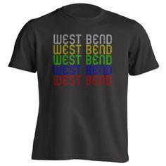 Retro Hometown - West-Bend, WI 53095 - Black - Small - Vintage - Unisex - T-Shirt