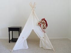 Muslin Kids Tent with Door Ties Teepee Play Tent Tipi Wigwam or Playhouse Pick your Muslin