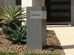 """All mailboxes are made to order. Phone 07 3209 6092 or order now To order choose options below and """"place order"""" and we will be in contact, prior to commencement. Price Inclusions - see des Modern Front Yard, Modern Mailbox, Contemporary Mailboxes, Mailbox Post, Mailbox Ideas, Aesthetic Lockscreens, Stainless Steel Fittings, Post Box, House Numbers"""