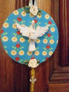 Mandala de Divino Espírito Santo, trabalhada com tecido de algodão, peças de…