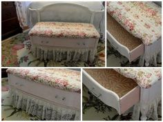 Without a doubt... THE cutest bed-bench EVER! It's made from the bottom half of an old dresser (found on Craigslist)!