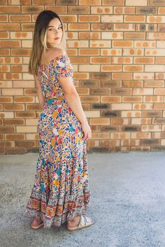 A modern boho matchy matchy outfit with our Mia Crop Top and Lily Maxi Skirt in Royal Peach. Modern Bohemian, Bohemian Style, Australian Fashion, Fashion Labels, Boho Dress, Printing On Fabric, Vintage Inspired, Peach, Lily