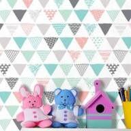 Papel de parede geométrico triângulos cinza, rosa, azul e verde - PA8711