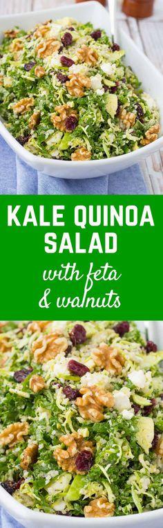 Healthy Salad Recipes, Real Food Recipes, Vegetarian Recipes, Cooking Recipes, Healthy Meals, Healthy Food, Kale Quinoa Salad, Quinoa Salat, Clean Eating