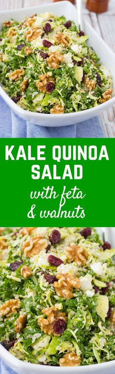 This kale quinoa salad is a healthy and hearty salad that stores well in the fridge, making it perfect for meal prep days. You'll love the crunchy walnuts and sweet, chewy cranberries! Get the salad recipe on http://RachelCooks.com!