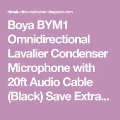 Boya Omnidirectional Lavalier Condenser Microphone with Audio Cable (Black) Save Extra with 5 offers Cashba.