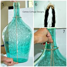 diy knotted jute netting for demijohns and bottles tutorial, crafts, diy, home decor, how to Wine Bottle Crafts, Bottle Art, Diy Bottle, Easy Fall Wreaths, Globe Decor, Diy Plant Stand, Cottage Design, Boho Diy, Diy Wreath