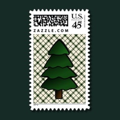 #Christmas Tree on Pine and Ivory Diagonal #Plaid #Postage #Stamps #zazzle