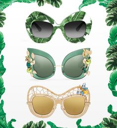 Discover Botanical Garden Collection by Dolce&Gabbana: women's sunglasses with Swarovski crystals and golden leaves hand applied.