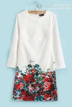 絶妙な花ラウンドネックライン欧米ドレス