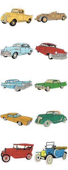 10 set Large Vintage Cars Embroidery Design