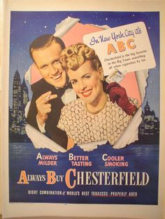 1946 Ad Chesterfield Cigarettes New York City