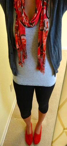 grey cardigan & tank- @Old Navy, @Forever 21 black leggings, @Cotton On red lace flats and floral print #NY scarf
