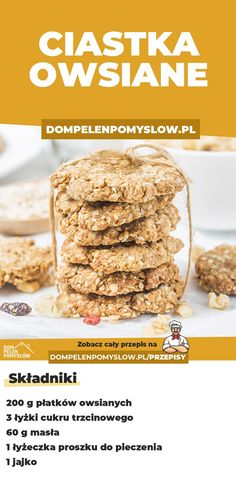 Owsiane ciasteczka - DomPelenPomyslow.pl Vegetarian Recipes, Cooking Recipes, Healthy Recipes, Healthy Sweets, Healthy Food, Good Food, Yummy Food, How Sweet Eats, Food Design