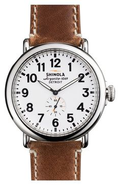 omggg.  im falling into with watches again!! Shinola 'The Runwell' Leather Strap Watch, 47mm available at #Nordstrom