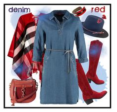 """denim meets red :-)"" by amisha73 ❤ liked on Polyvore featuring Tamaris, Burberry, s.Oliver, Vivienne Westwood and Rebecca Minkoff"
