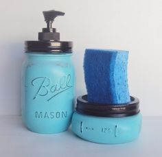 Teal Blue Mason Jar Kitchen Set Mason Jar Soap by HomeDecorbyDiane
