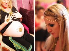 Henna artist for the guests at a Moroccan themed baby shower