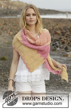 Sunrise Hues - Knitted shawl with zigzag pattern and stripes. The piece is worked in DROPS Alpaca. - Free pattern by DROPS Design Baby Knitting Patterns, Free Knitting, Crochet Patterns, Drops Design, Zig Zag Pattern, Free Pattern, Drops Alpaca, Magazine Drops, Sport Weight Yarn