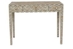 Chevron Bone-Inlay Console, Gray | Need to Know | One Kings Lane