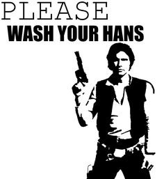 "Star Wars Party* Han Solo ""Please wash your hans"" bathroom sign. PRINT OUT"