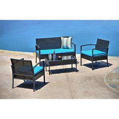 Found it at Wayfair - 4 Piece Wicker Seating Group with Cushions