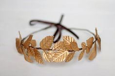 Edinburgh Golden Crown, Bridal and Wedding Guest Floral Crown made with golden leaves by Palomilla