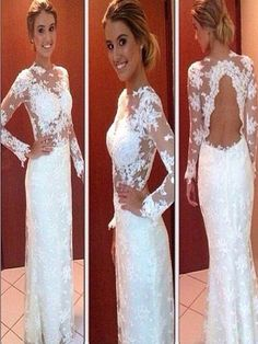 Long Custom Prom Dress,white prom dress,prom dress with lace,long sleeve prom dress,open back prom dress,elegant prom dress,simple prom dress,high neck prom dress,modest prom dressPD008156