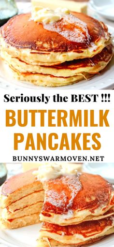 The BEST Buttermilk Pancakes you'll ever try – promise! This easy to follow pancake recipe yields super delicious and totally amazing pancakes every time! #breakfastrecipe #pancakesrecipe #easyrecipe