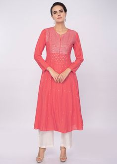 c58eb88bc8 Peach cotton kurti adorn with sequins work. Densely around the neckline and  placket. Comes