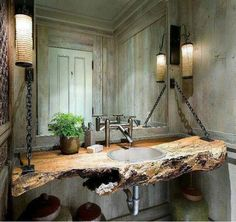 natural sink - bathroom - washroom - wood - stone - architecture - design