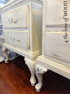4 the love of wood: TIN HANDLES ON SHABBY CHIC WHITE NIGHTSTANDS