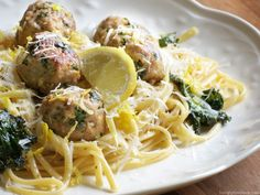 Kale turkey meatballs--Andrew's favorite! I add about 1/3-1/4 cup of garbanzo bean purée to the meatball mixture to keep them nice and moist.