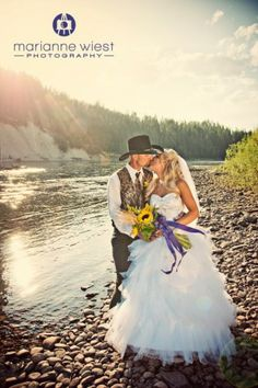 Montana Wedding -- this would be cute if you both had hats on  too