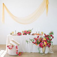 Colorful wedding ideas | silk table runners | hand dyed silk