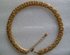 Vintage Monet Goldtone retro abstract adjustable choker necklace
