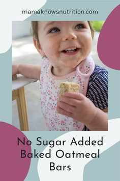 These no sugar added baked oatmeal bars are a great healthy finger food for babies and toddlers! Serve them for breakfast or snack, or even as an easy lunch. I like to pack them when we need an easy grab and go snack! #blwideas #toddlerfood #toddlerbreakfast Healthy Finger Foods, Baby Finger Foods, Healthy Meals For Kids, Kids Meals, No Bake Oatmeal Bars, Baked Oatmeal, Toddler Nutrition, Registered Dietitian Nutritionist, Toddler Meals