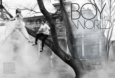 """Boy Meets World"": Lindsay Ellingson and Ansel Elgort by Arthur Elgort for US Elle September 2013"