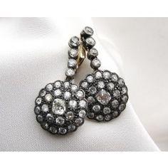Shop Circa 1880's Victorian Old Mine Cut Diamond & Old European Cut Diamond Earrings. Available at isadoras.com.