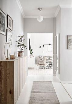 home decor grey Home tour - a light-filled, pale-grey apartment in Gothenburg Decor, Interior Design, House Interior, Home, White Floorboards, White Home Decor, Interior, Light Grey Walls, Hallway Inspiration